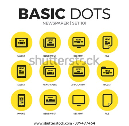 Newspaper flat icons set with tablet, file and folder isolated vector illustration on white - stock vector