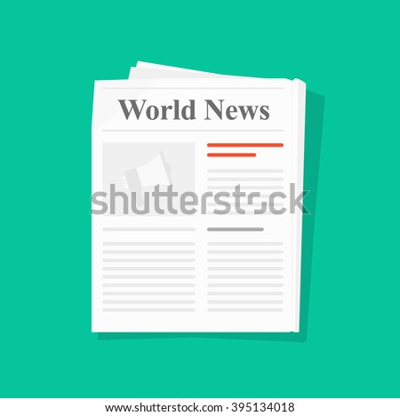 Newspaper folded vector icon, news paper front page top view abstract printed text articles and headlines, world news, daily paper rolled, journal, magazine flat design illustration isolated on green  - stock vector