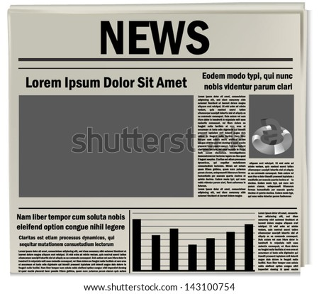 Newspaper icon, business news - stock vector