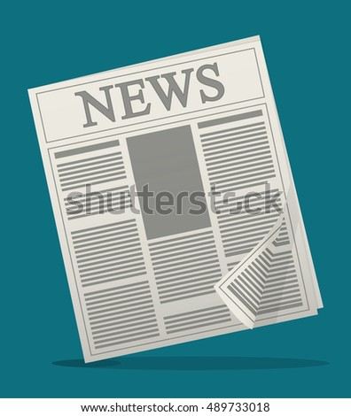 newspaper icon. News communication and media theme. Colorful design. Vector illustration