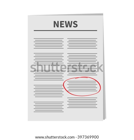 Newspaper icon Red pen skrible mark Flat design Isolated White background Vector illustration - stock vector
