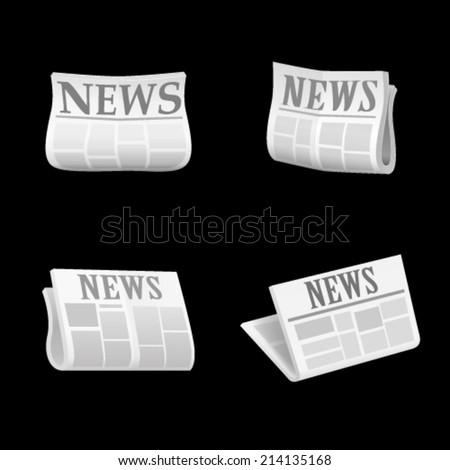 Newspaper icon set. Vector - stock vector