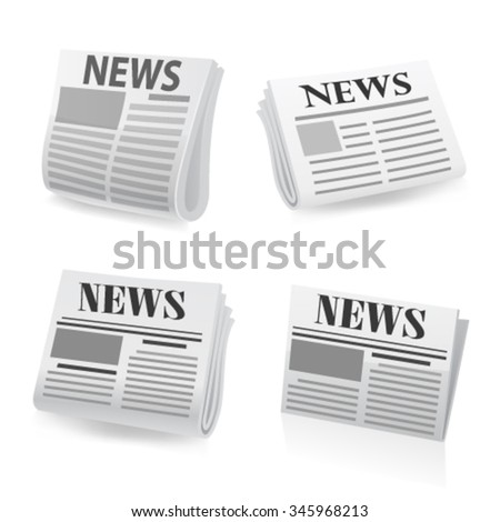 Newspaper icon set. Vector