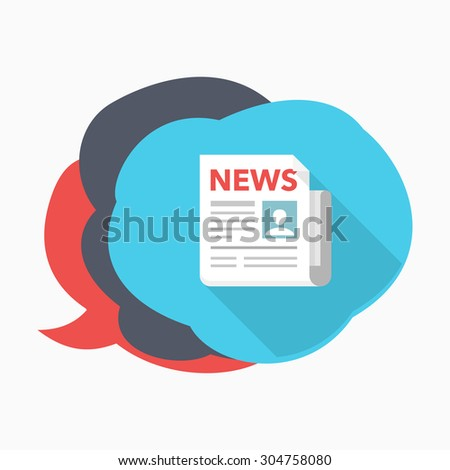Newspaper icon - vector , eps10(flat icon , long shadow)