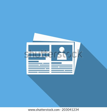 newspaper icon with long shadow - stock vector