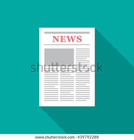 Newspaper icon with long shadow. Flat design style. Newspaper simple silhouette. Modern minimalistic icon in stylish colors. Web site page and mobile app design vector element.