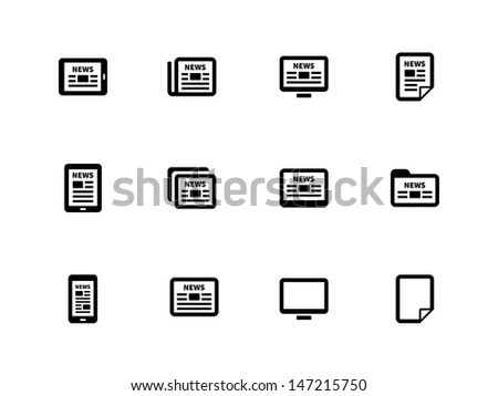 Newspaper icons on white background. Wireless technology. Vector illustration. - stock vector