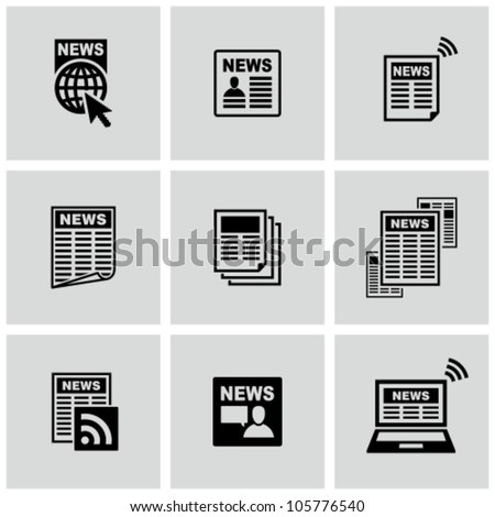 Newspaper icons set. - stock vector