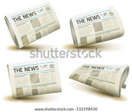 Newspaper Icons Set/ Illustration of a set of cartoon daily or weekly printed newspaper publication icons - stock vector