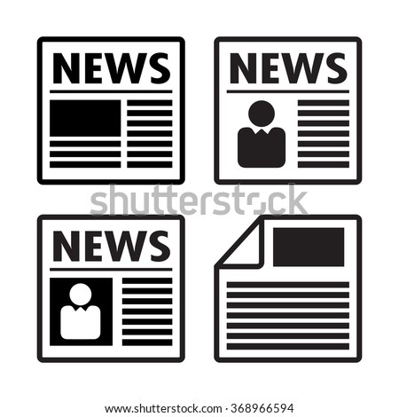Newspaper icons set, vector - stock vector