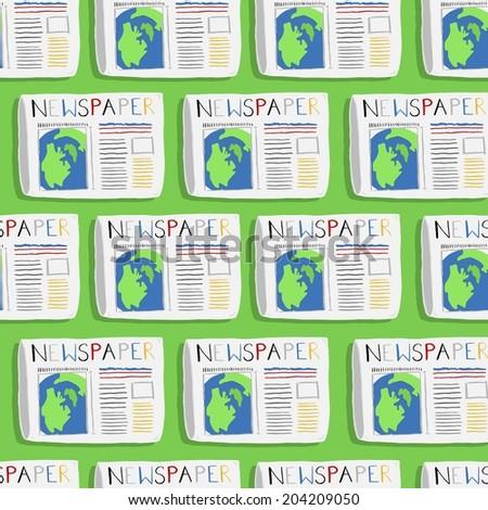 Newspaper illustration pattern - stock vector