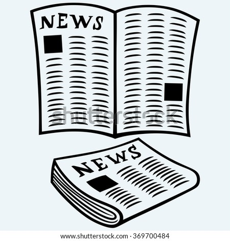 Newspaper, news. Isolated on blue background. Vector silhouettes - stock vector