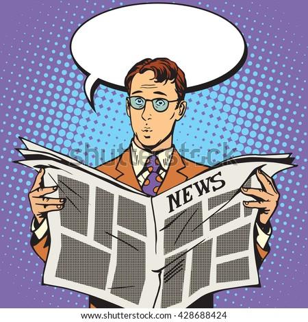 newspaper news surprise reader - stock vector