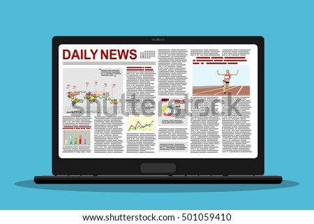 newspaper on a laptop  Vector illustration in flat design