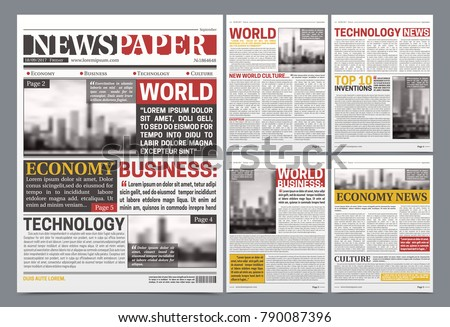 Newspaper Pages Template Design World Breaking Stock Vector Hd