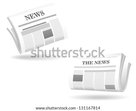 Newspaper realistic icons for web and internet design. Jpeg (bitmap) version also available in gallery - stock vector