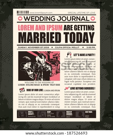 Newspaper Style Wedding Invitation Vector Design Stock Vector Hd