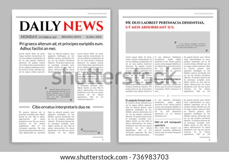 Newspaper Template Design Mockup Newspaper Layout Stock Vector