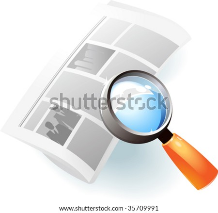 Newspaper under magnifying glass. Vector illustration.