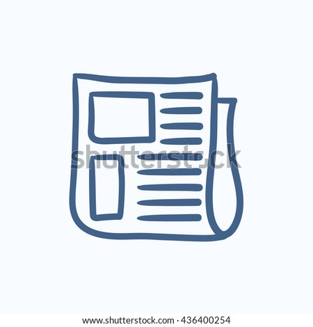 Newspaper vector sketch icon isolated on background. Hand drawn Newspaper icon. Newspaper sketch icon for infographic, website or app. - stock vector