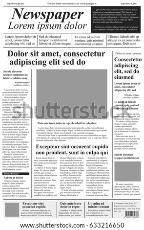 Newspaper Vector Template Lorem Ipsum Text Stock Vector