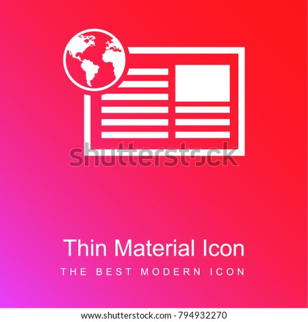 Newspaper International Information Education Red Pink Stock Vector