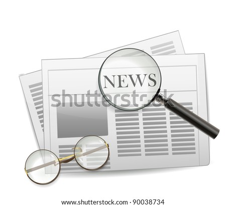 Newspaper with magnifying glass - stock vector