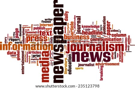 Newspaper word cloud concept. Vector illustration - stock vector