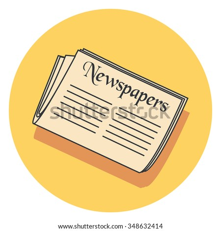 newspapers flat icon in circle - stock vector