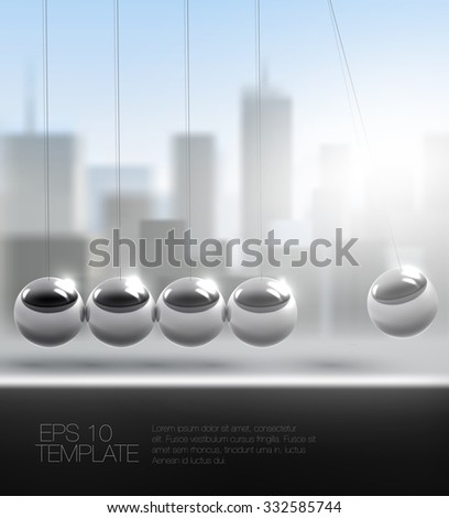 newton cradle or pendulum in front of downtown cityscape. high quality vector template - stock vector