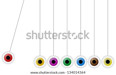 Newton Cradle With Eyeballs - stock vector