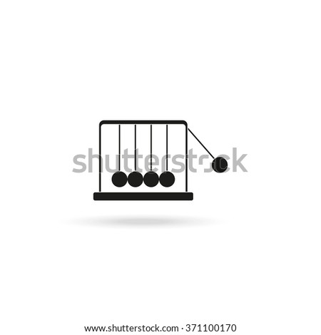 Newton's cradle flat icon. - stock vector
