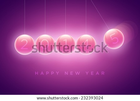 Newtons cradle balls replaced with 4 to 5 (2014 to 2015). New year greeting card design. Elements are layered separately in vector file. - stock vector