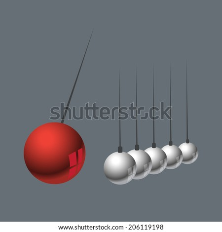 Newtons Cradle illustration Balance Balls  - stock vector