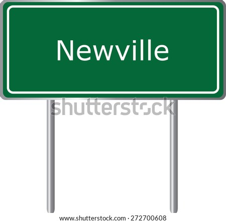 Newville, Alabama, road sign green vector illustration, road table, USA city - stock vector