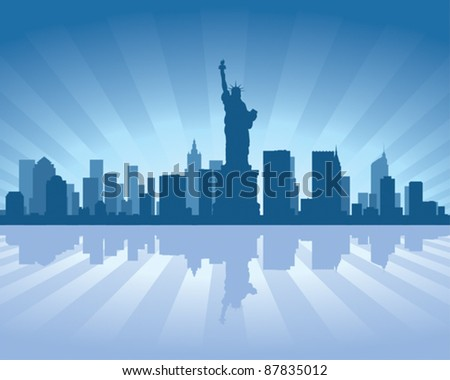 NewYork skyline with reflection in water - stock vector
