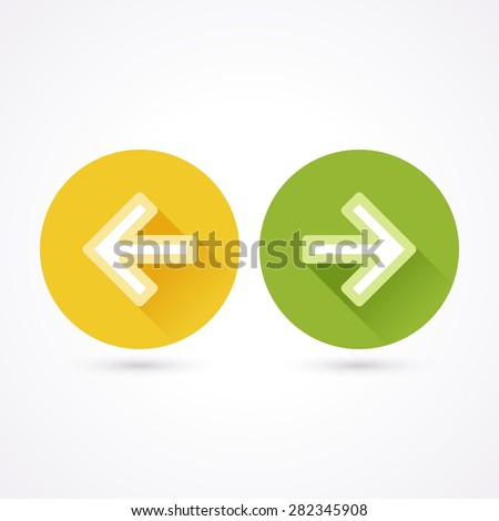 Next and previous flat icon in a circle with long shadow - stock vector
