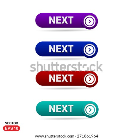 Next Icon Button. Abstract beautiful text button with icon. Purple Button, Blue Button, Red Button, Green Button, Turquoise button. web design element. Call to action gray icon button - stock vector