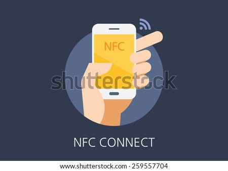 NFC concept flat icon - stock vector