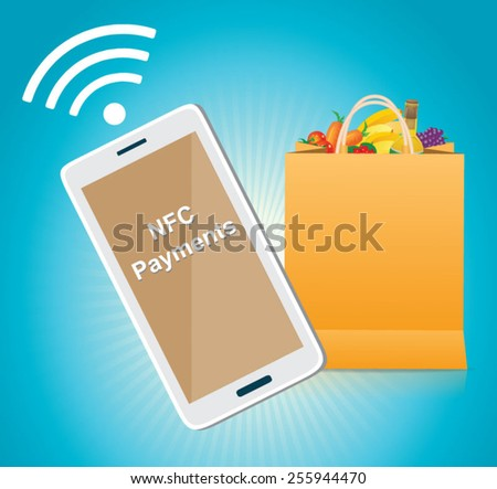 NFC  mobile payment via smartphone - stock vector