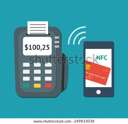 NFC technology concept. Flat illustration of smartphone with credit card on its screen and POS-terminal, processing of mobile payments. Vector illustration isolated on white background. - stock vector