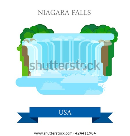 Niagara Falls in United States / Canada. Flat cartoon style historic sight showplace attraction web site vector illustration. World countries vacation travel sightseeing North America USA collection. - stock vector