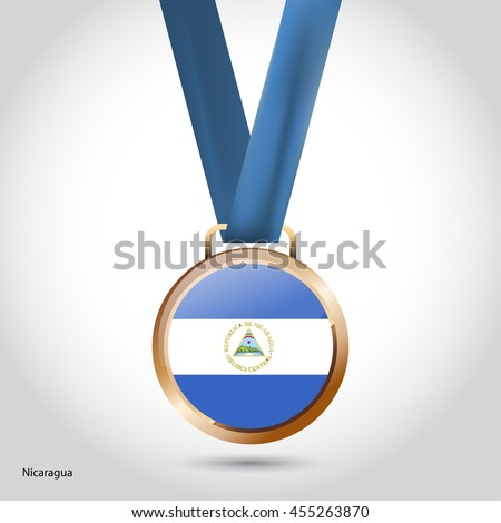 Nicaragua Flag in Bronze Medal. Vector Illustration. RIO Olympic Game Bronze Medal. Vector Illustration