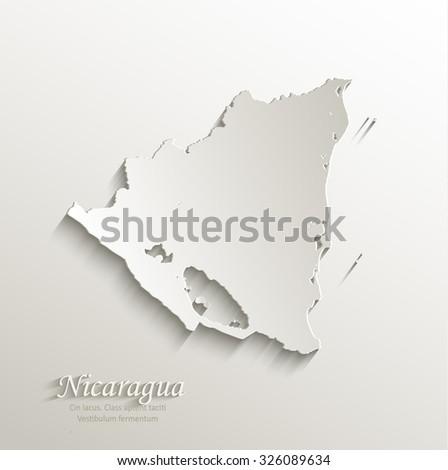 Nicaragua map card paper 3D natural vector - stock vector