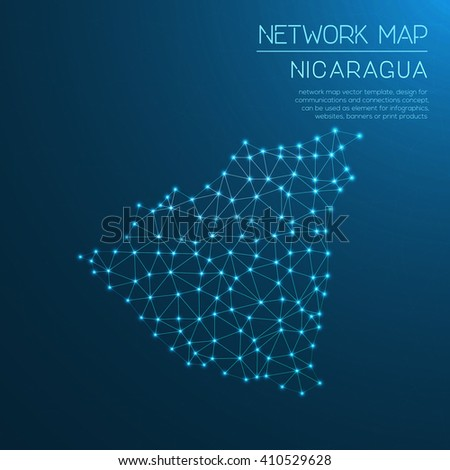 Nicaragua network map. Abstract polygonal map design. Internet connections vector illustration. - stock vector
