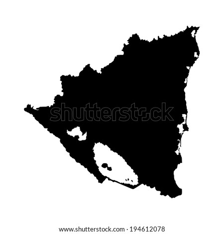 Nicaragua vector map  isolated on white background. High detailed silhouette illustration. Nicaragua silhouette illustration. - stock vector