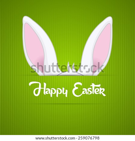 Nice Abstract of Happy Easter with bunny ears in a green coloured background. - stock vector