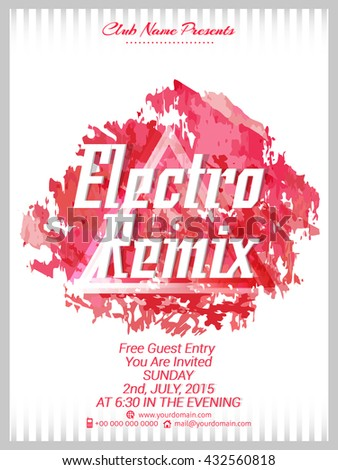 nice and beautiful vector abstract for Electro Remix Party Flyer with nice and creative illustration in a background. - stock vector