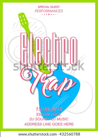 nice and beautiful vector abstract for Electro Trap Party Flyer with nice and creative illustration in a background. - stock vector