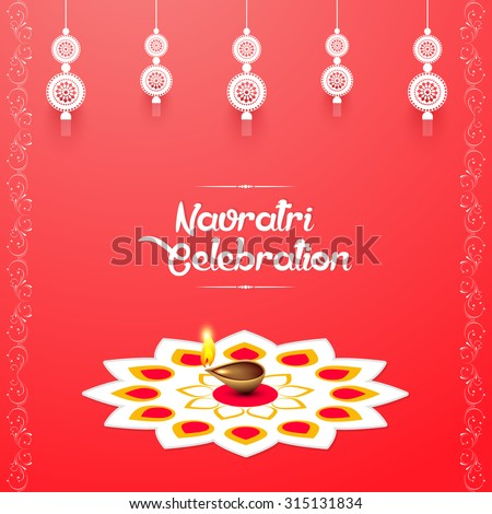 nice and beautiful vector abstract for Navratri Celebration with white coloured illustrated Hanging lantern in a creative pink background with rangoli and floral pattern. - stock vector